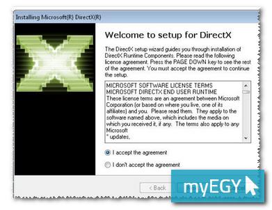 صورة من شاشة تحميل برنامج دايركت اكس